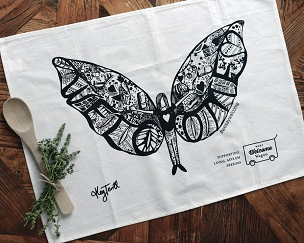 Linen Blend Tea Towel - 'Welcome Angel'